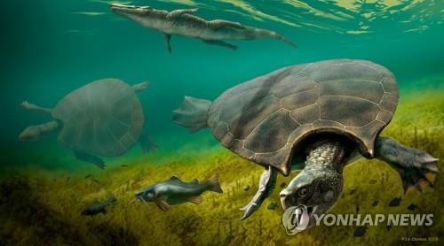 승용차만한 초대형 고대 거북도 공룡급 악어가 천적1.jpg